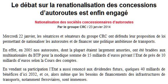 Renationalisation Des Autoroutes