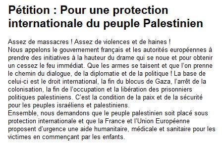 Pétition : Pour une protection internationale du peuple Palestinien