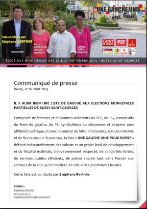 Bussy élections municipales