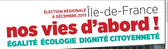 Elections régionales décembre 2015 Nos vies d'abord