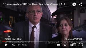 attentats à Paris 15 novembre 2015 - Réaction de Pierre LAURENT
