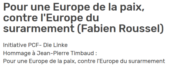 Initiative PCF- Die Linke Hommage à Jean-Pierre Timbaud : Pour une Europe de la paix, contre l'Europe du surarmement