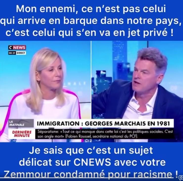 Fabien Roussel CNews le mardi 13 avril 2021